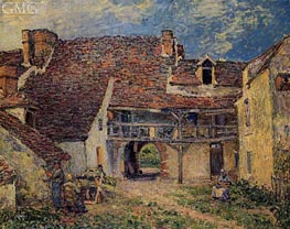 Courtyard of Farm at Saint-Mammes, 1884 by Alfred Sisley | Painting Reproduction