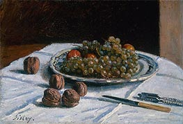 Grapes and Walnuts on a Table, 1876 by Alfred Sisley | Painting Reproduction