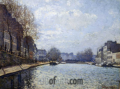 View of the Canal St. Martin, 1870 | Alfred Sisley| Painting Reproduction