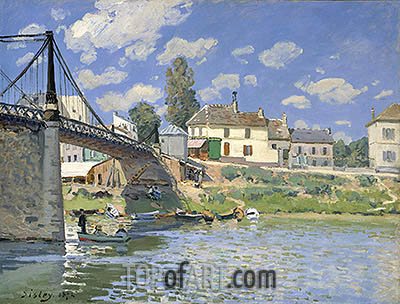 The Bridge at Villeneuve la Garenne, 1872 | Alfred Sisley | Painting Reproduction