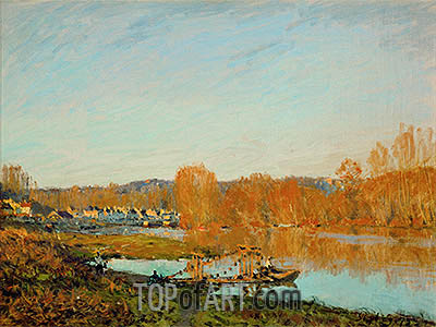 Autumn - Banks of the Seine near Bougival, 1873 | Alfred Sisley | Painting Reproduction