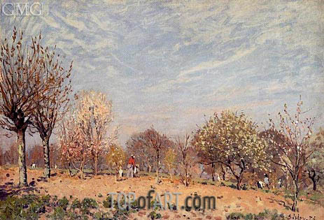 Apple Trees in Flower, Spring Morning, 1873 | Alfred Sisley | Gemälde Reproduktion