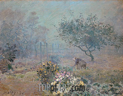 Foggy Morning, Voisins, 1874 | Alfred Sisley| Painting Reproduction