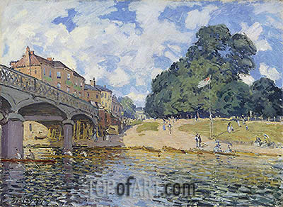 Bridge at Hampton Court, 1874 | Alfred Sisley| Painting Reproduction