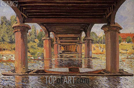 Under the Bridge at Hampton Court, 1874 | Alfred Sisley | Painting Reproduction