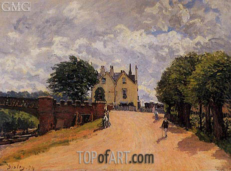 Alfred Sisley | Inn at East Molesey with Hampton Court Bridge, 1874