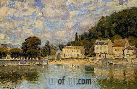 Horses Being Watered at Marly-le-Roi, 1875 | Alfred Sisley | Painting Reproduction