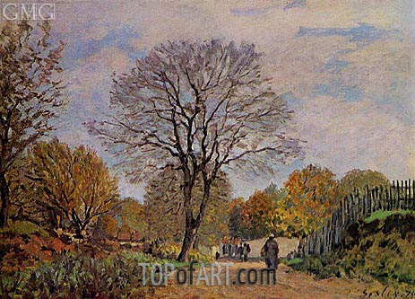 A Road in Seine-et-Marne, 1875 | Alfred Sisley | Gemälde Reproduktion