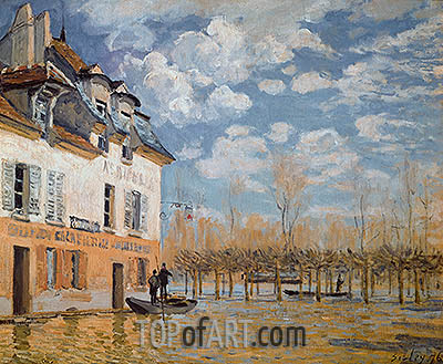 The Boat in the Flood, Port-Marly, 1876 | Alfred Sisley| Gemälde Reproduktion