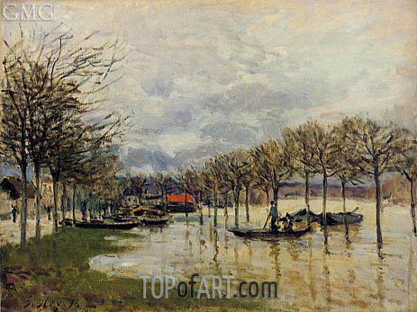 The Flood on the Road to Saint-Gemain, 1876 | Alfred Sisley | Gemälde Reproduktion