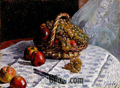 Still Life - Apples and Grapes, 1876 | Alfred Sisley | Gemälde Reproduktion