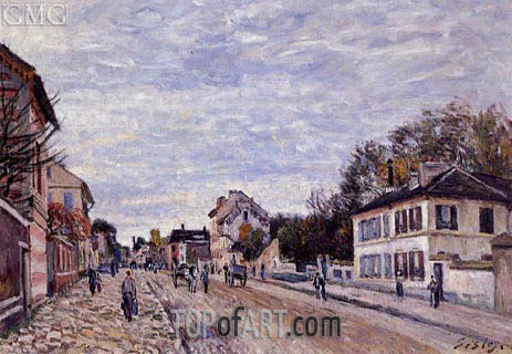 Street Scene in Marly, 1876 | Alfred Sisley | Painting Reproduction