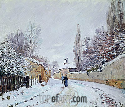 Road under Snow, Louveciennes, c.1876 | Alfred Sisley | Gemälde Reproduktion