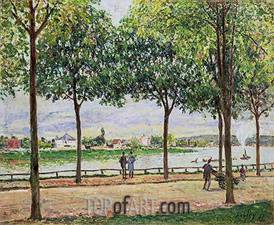 Street of Spanish Chestnut Trees by the River, 1878 | Alfred Sisley| Painting Reproduction