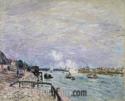 The Seine at Grenelle - Rainy Weather, 1878 | Alfred Sisley| Painting Reproduction