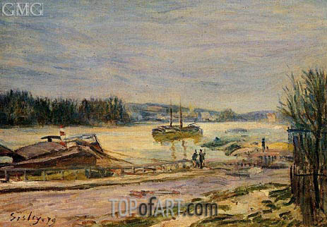 The Saine near Saint-Cloud, High Water, 1879 | Alfred Sisley | Painting Reproduction