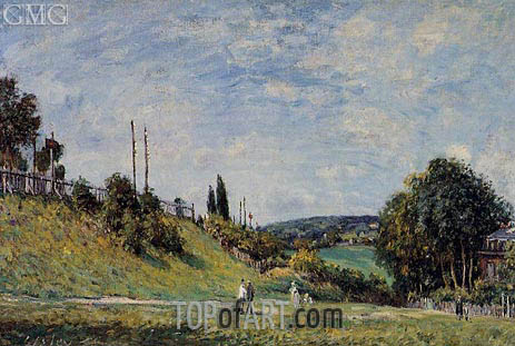 The Railroad Embankment at Sevres, 1879 | Alfred Sisley | Gemälde Reproduktion