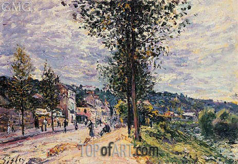 Street Entering the Village, 1880 | Alfred Sisley | Painting Reproduction