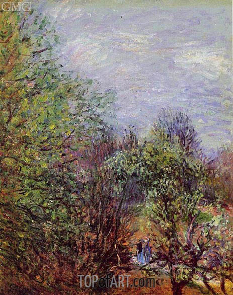 Two Women Walking Along the Riverbank, c.1880/85 | Alfred Sisley | Painting Reproduction