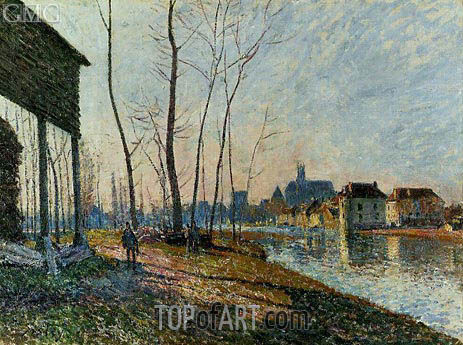A February Morning at Moret-sur-Loing, 1881 | Alfred Sisley | Gemälde Reproduktion