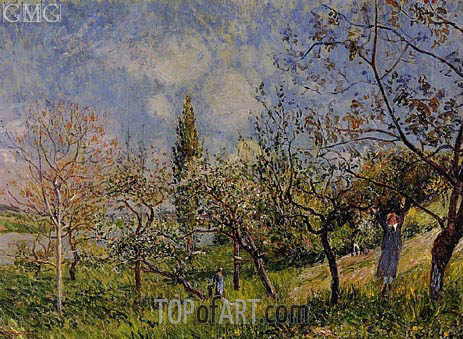 Orchard in Spring - By, 1881 | Alfred Sisley | Gemälde Reproduktion