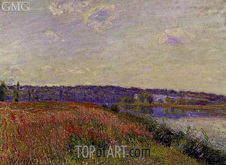 The Fields and Hills of Veneux-Nadon, 1881 | Alfred Sisley | Gemälde Reproduktion