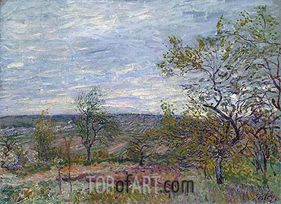 Windy Day at Veneux, 1882 | Alfred Sisley | Painting Reproduction