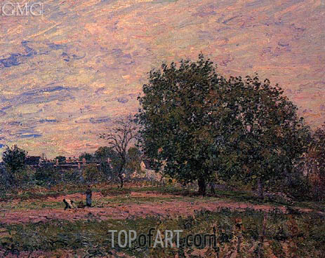 Alfred Sisley | Walnut Trees, Sunset - Early Days of October, 1882