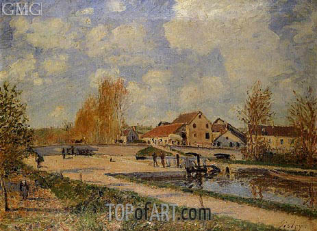 The Bourgogne Lock at Moret, Spring, c.1882 | Alfred Sisley | Gemälde Reproduktion