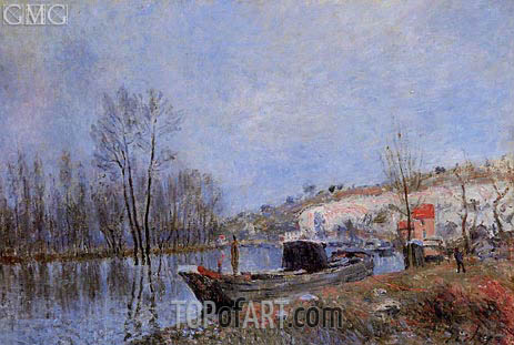 The Banks of the Loing towards Moret, 1883 | Alfred Sisley | Painting Reproduction