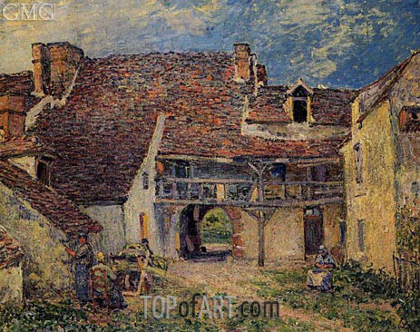 Courtyard of Farm at Saint-Mammes, 1884 | Alfred Sisley | Painting Reproduction