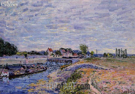 The Saint-Mammes Dam, 1885 | Alfred Sisley | Gemälde Reproduktion