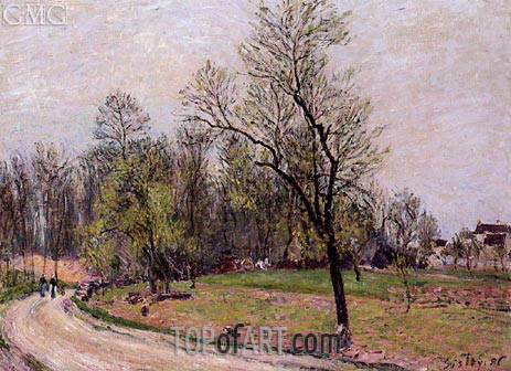 The Edge of the Forest in Spring, Evening, 1886 | Alfred Sisley | Gemälde Reproduktion
