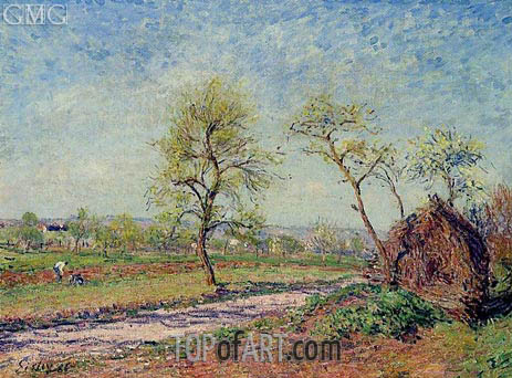 Alfred Sisley | The Road from Veneux to Moret on a Spring Day, 1886