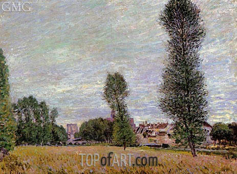 The Village of Moret, Seen from the Fields, 1886 | Alfred Sisley | Painting Reproduction
