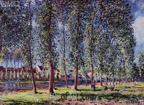 A Lane of Poplars at Moret, 1888 | Alfred Sisley | Painting Reproduction