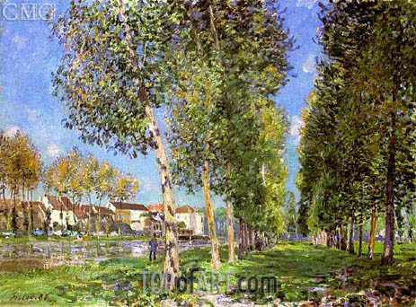 The Lane of Poplars at Moret, Morning, 1888 | Alfred Sisley | Painting Reproduction