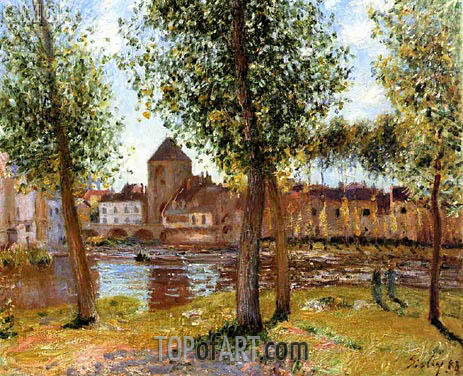 Alfred Sisley | Poplars at Moret-sur-Loing, August Afternoon, 1888