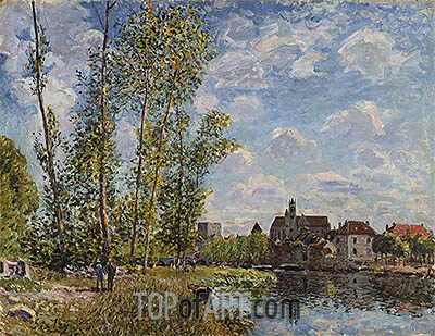 Moret, View from the Loing, May Afternoon, 1888 | Alfred Sisley | Painting Reproduction