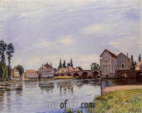 The Loing Flowing under the Moret Bridge, 1892 | Alfred Sisley | Painting Reproduction