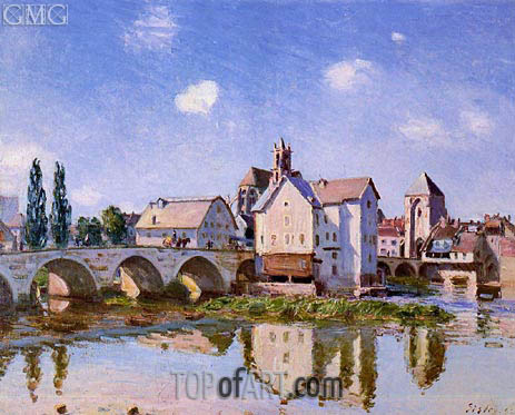 The Moret Bridge in the Sunlight, 1892 | Alfred Sisley | Gemälde Reproduktion