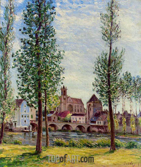 View of Moret-sur-Loing through the Trees, 1892 | Alfred Sisley | Painting Reproduction