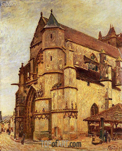 The Church at Moret, Rainy Morning, 1893 | Alfred Sisley | Painting Reproduction