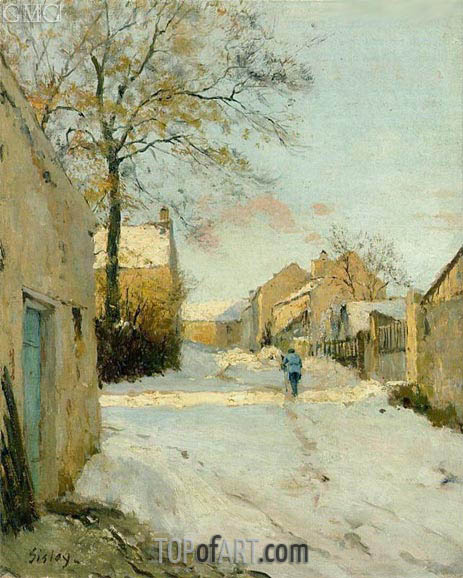 A Village Street in Winter, 1893 | Alfred Sisley | Gemälde Reproduktion