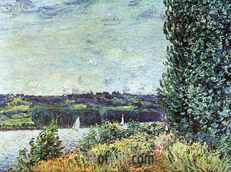The Banks of the Seine - Wind Blowing, 1894 | Alfred Sisley | Painting Reproduction
