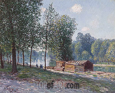 Cabins by the River Loing, Morning, 1896 | Alfred Sisley| Painting Reproduction