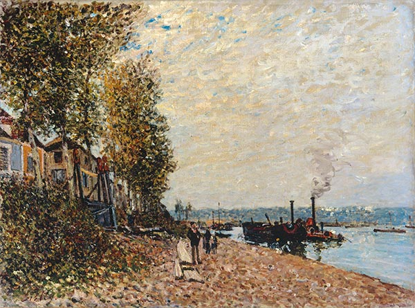 Alfred Sisley | Steam Boats on Loing at Saint-Mammes (The Tugboat), 1877
