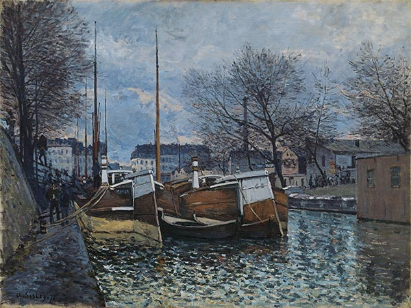 Barges on the St. Martin Canal, 1870 | Alfred Sisley | Painting Reproduction