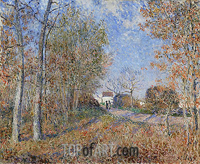 Road at the Forest Fringe (Forest of Fontainebleau near Moret-sur-Loing), 1883 | Alfred Sisley | Gemälde Reproduktion