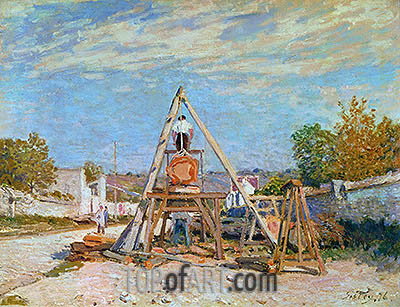 The Woodcutters (Sawing Wood), 1876 | Alfred Sisley| Painting Reproduction
